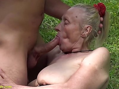 chubby 85 years old granny first time outdoor sex