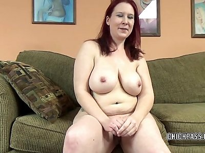 Mature redhead Lia Shade is blowing a dude she just met