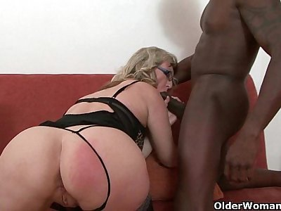 Depraved milf devours a black cock
