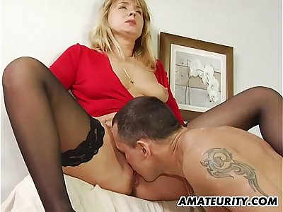 Amateur Milf in stockings sucks and fucks